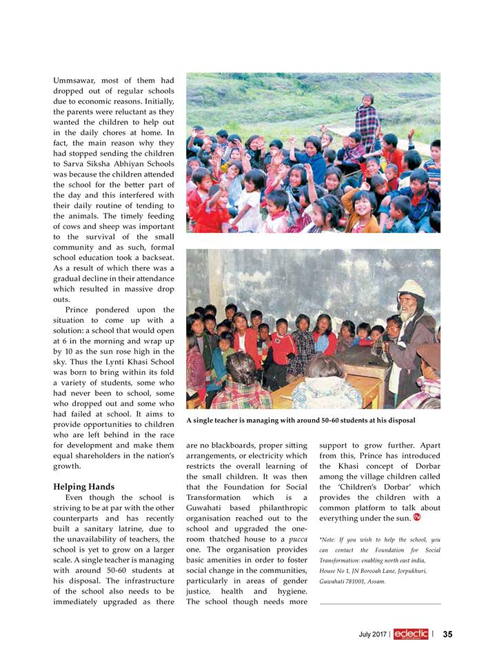 ECLECTIC MAGAZINE – FOUNDATION FOR SOCIAL TRANSFORMATION